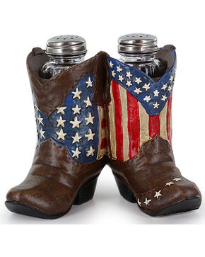 BB Ranch® Americana Western Boot Salt and Pepper Holder, Red/white/blue, hi-res