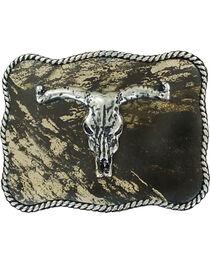 Nocona Boys' Rectangle Mossy Oak Longhorn Skull Belt Buckle, , hi-res