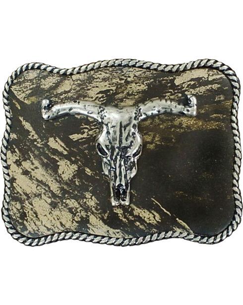 Nocona Boys' Rectangle Mossy Oak Longhorn Skull Belt Buckle, Mossy Oak, hi-res