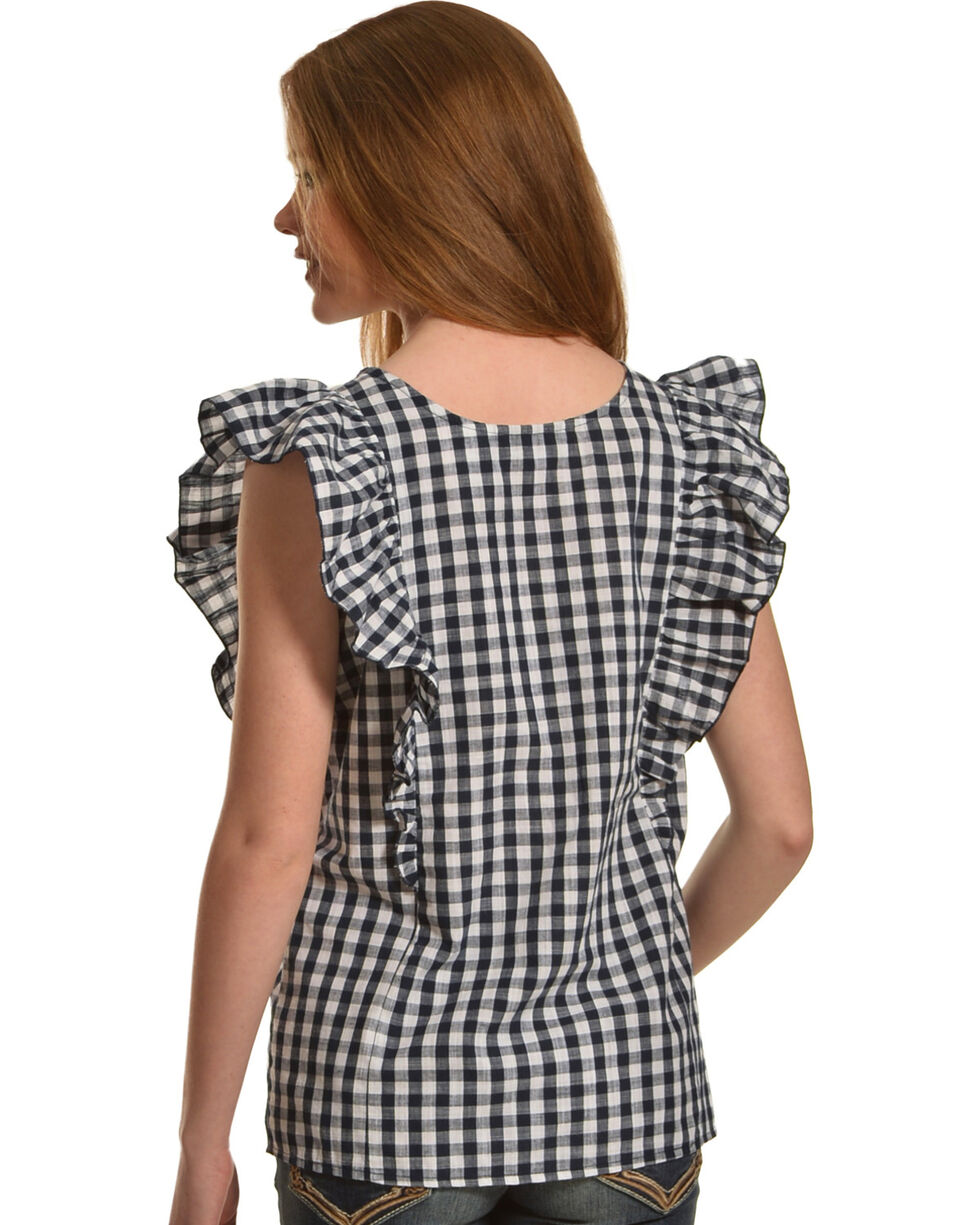 New Direction Sport Women's Black Plaid Gromets Top , Black, hi-res