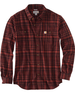 Carhartt Men's Trumbull Plaid Shirt - Tall , Brown, hi-res