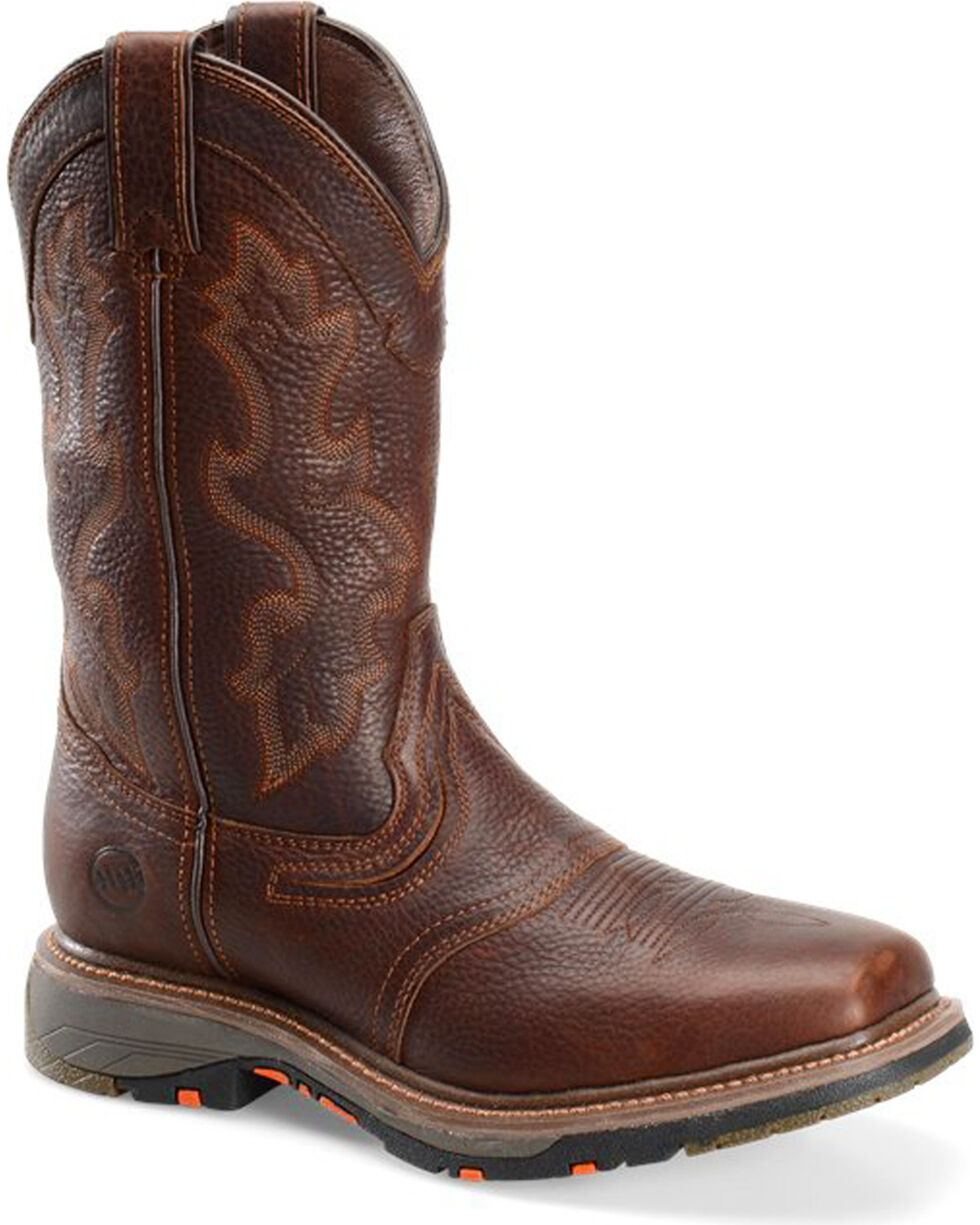 """Double H Men's 12""""  Square Toe Workflex Western Work Boots, Brown, hi-res"""