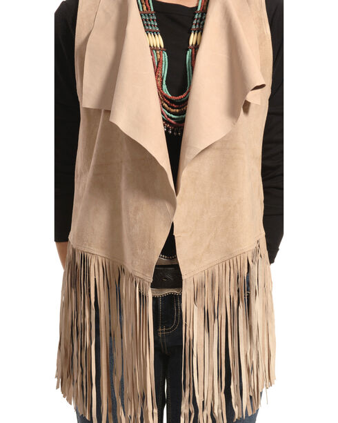 White Crow Women's Moccasin Crying Wolf Fringe Vest, Brown, hi-res