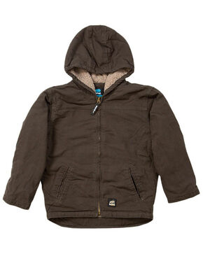 Berne Youth Boys' Washed Sherpa-Lined Hooded Jacket, Olive Green, hi-res