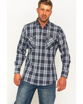 Jack Daniels Men's Black Plaid Logo Western Snap Shirt , , hi-res