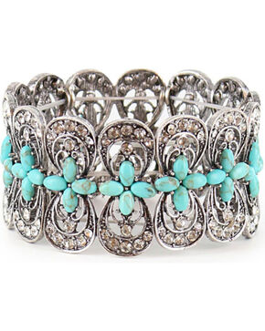 Shyanne® Women's Cross Stretch Bracelet, Silver, hi-res