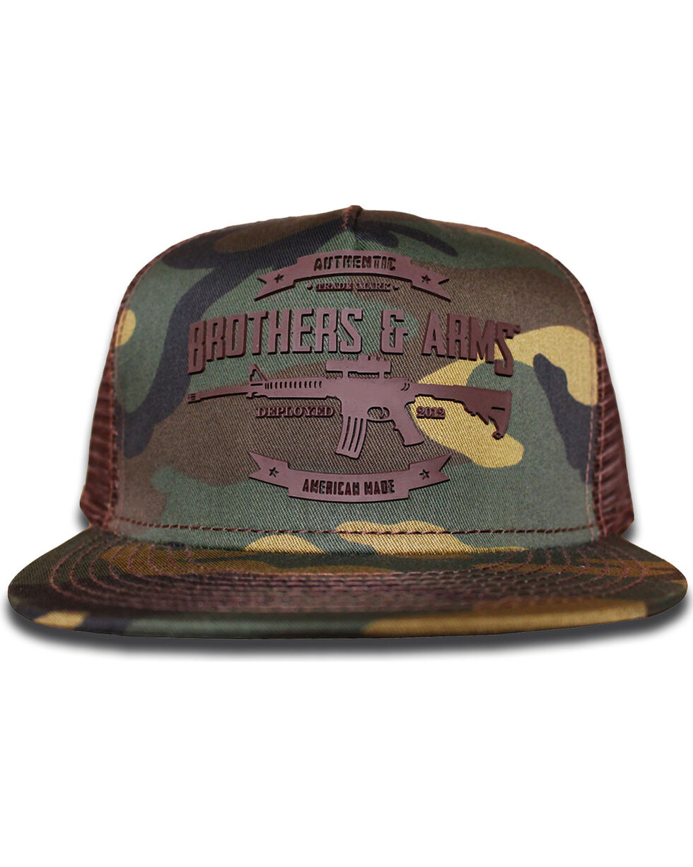 Brothers & Arms Men's Brown Rubber Logo Camo Trucker Cap, Brown, hi-res