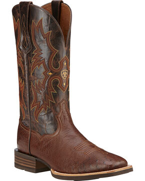 Ariat Men's Tombstone Smooth Ostrich Western Boots, Dark Brown, hi-res