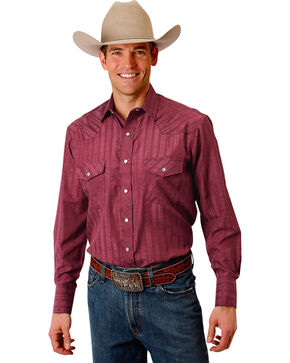Roper Men's Wine Western Tone On Tone Snap Shirt , Wine, hi-res