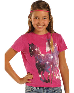 Rock & Roll Cowgirl Girls' Running Horses T-Shirt , Pink, hi-res