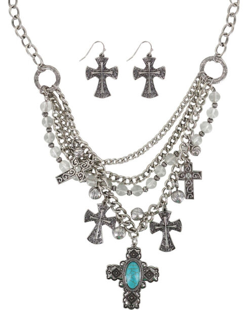 Shyanne® Women's Engraved Crosses Jewelry Set, Silver, hi-res