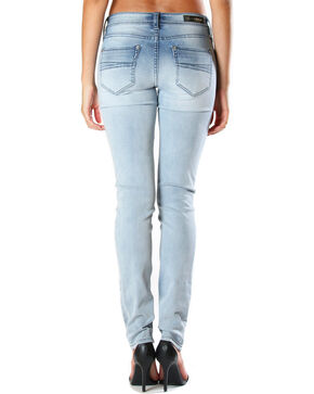 Grace in LA Women's Faded Moto Jeans - Skinny , Light/pastel Blue, hi-res