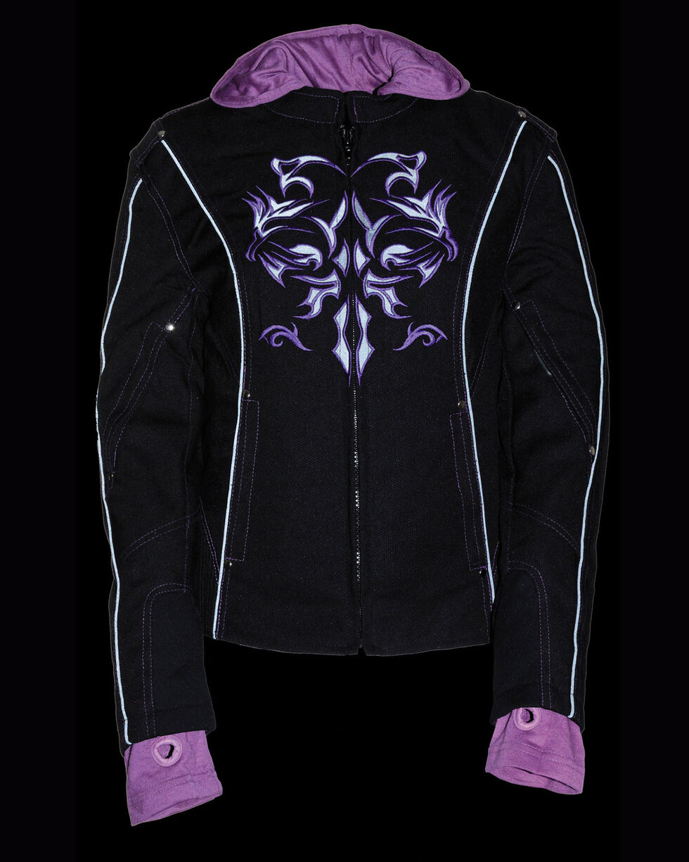Milwaukee Leather Women's 3/4 Jacket With Reflective Tribal Decal - 3X, Black/purple, hi-res