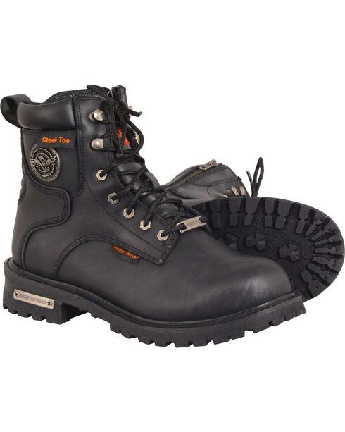 "Milwaukee Leather Men's Black 6"" Waterproof Lace Boots - Steel Toe , Black, hi-res"
