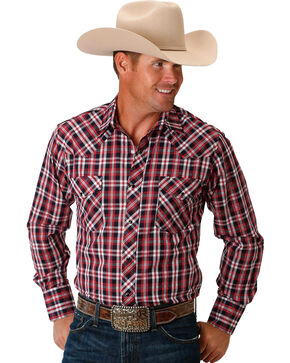 Roper Men's Patriotic Plaid Long Sleeve Western Snap Shirt, Red, hi-res