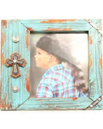 Western Moments Turquoise Cross Frame, , hi-res