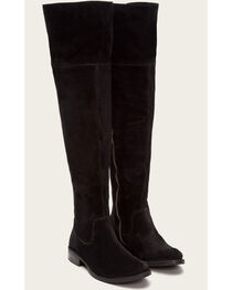 Frye Women's Black Suede Shirley OTK Boots - Round Toe , , hi-res