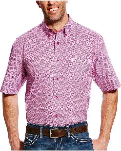Ariat Men's Evander Short Sleeve Print Shirt, Violet, hi-res