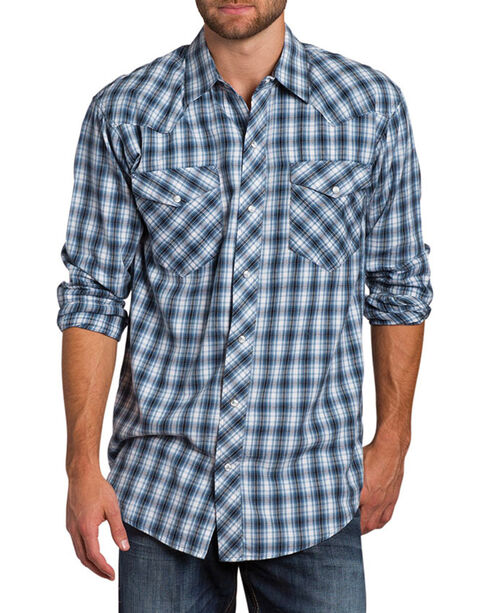 Resistol Men's Sheridan Plaid Long Sleeve Shirt, Blue, hi-res