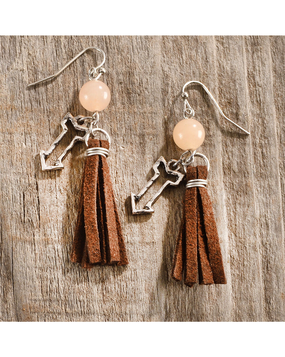 Shyanne Women's Leather Tassel Earrings, Brown, hi-res