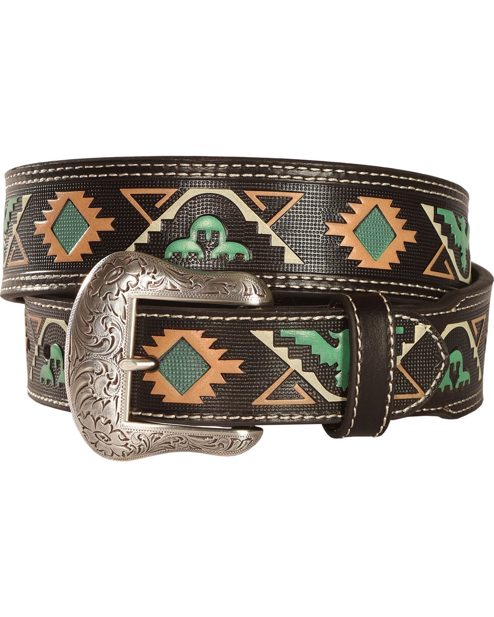 "Nocona 1 7/8"" 1 1/2"" Tribal Belt, Brown, hi-res"