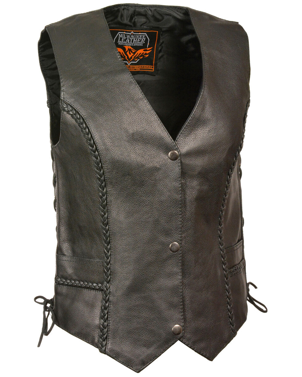 Milwaukee Leather Women's Braided Side Lace Vest - 4X, Black, hi-res