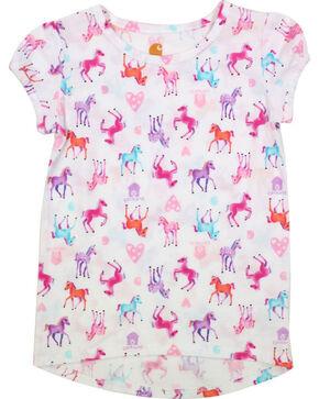 Carhartt Girls' Watercolor Horse Print Shirt , White, hi-res
