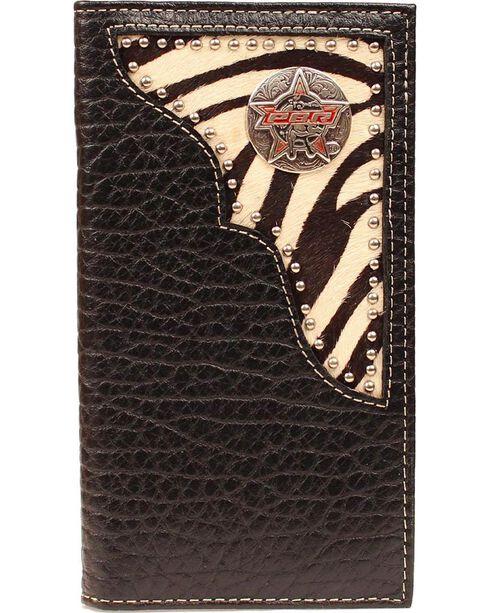 PBR Zebra Print Hair-on Hide Concho Rodeo Wallet, Black, hi-res