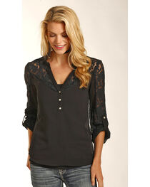 Rock & Roll Cowgirl Women's Black Georgette Lace Top , , hi-res