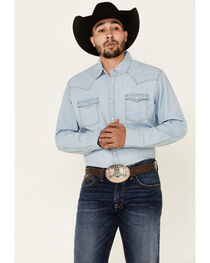 Wrangler Retro Men's Long Sleeve Denim Snap Shirt, , hi-res