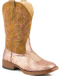 Roper Youth Girls' Pink 'n Gold Glitter Cowgirl Boots - Square Toe, , hi-res