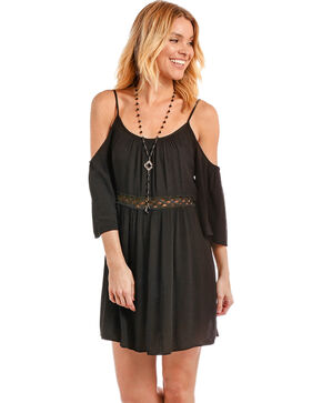 Panhandle Women's Cold Shoulder Lace Inset Crinkle Dress, Black, hi-res