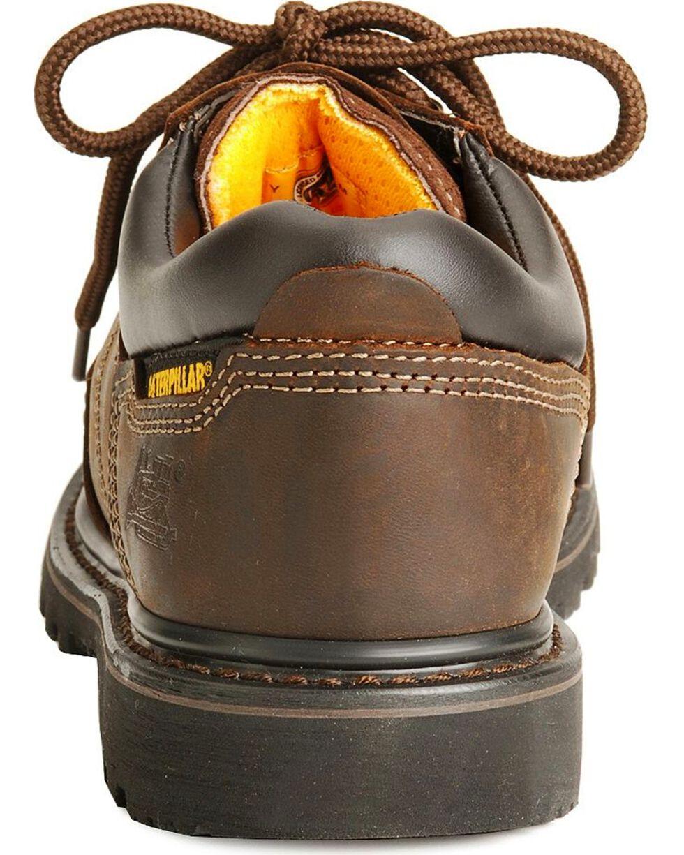 CAT Men's Steel Toe Ridgement Oxford Work Shoes, Dark Brown, hi-res