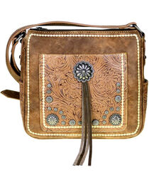 Montana West Women's Brown Concho Concealed Carry Crossbody Bag , , hi-res