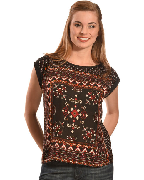 New Direction Sport Women's Black Scarf Print Sleeveless Top , Black, hi-res