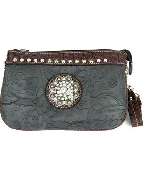 Savana Bronze Tooled Leather Rhinestone Medallion Clutch, Bronze, hi-res