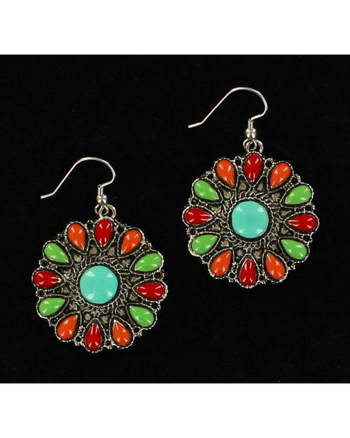 Blazin Roxx Round Multi-Colored Earrings, Multi, hi-res
