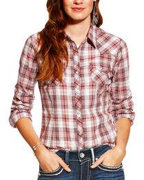 Ariat Women's Leona Top-stitch Plaid Long Sleeve Snap Shirt, , hi-res