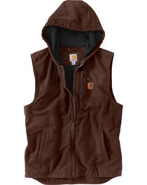 Carhartt Men's Dark Brown Knoxville Hooded Vest - Bog & Tall , , hi-res