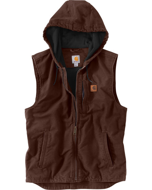 Carhartt Men's Dark Brown Knoxville Hooded Vest - Bog & Tall , Dark Grey, hi-res