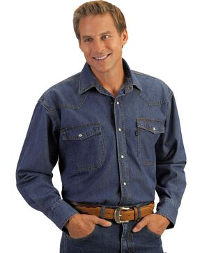 Key Western Denim Work Shirt, Denim, hi-res