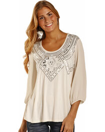 Rock & Roll Cowgirl Women's Cream Silver Embroidered Top , , hi-res