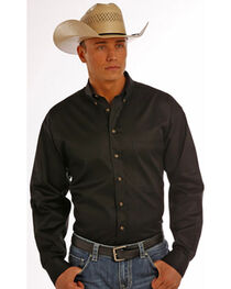 Panhandle Slim Men's Black Solid Twill Shirt, , hi-res