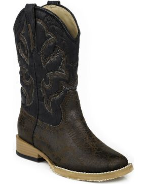 Roper Boys' Scout Embroidered Western Boots, Dark Brown, hi-res