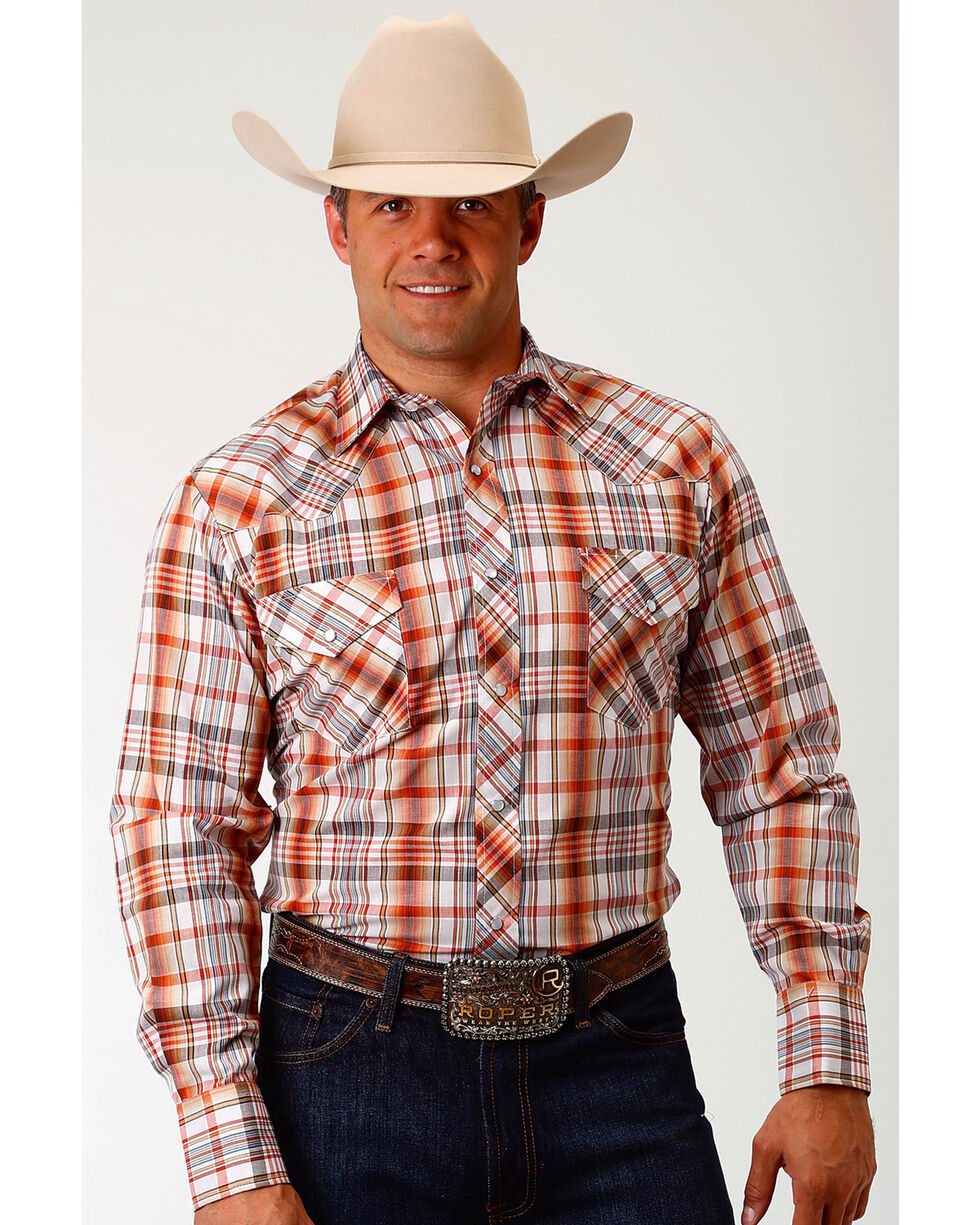 Roper Men's Tan Plaid Long Sleeve Western Snap Shirt, Tan, hi-res