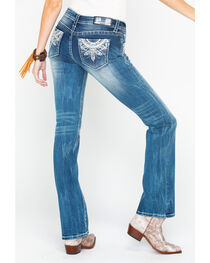 Grace in La Women's Medium Blue Fleur De Lis Jeans - Boot Cut , , hi-res