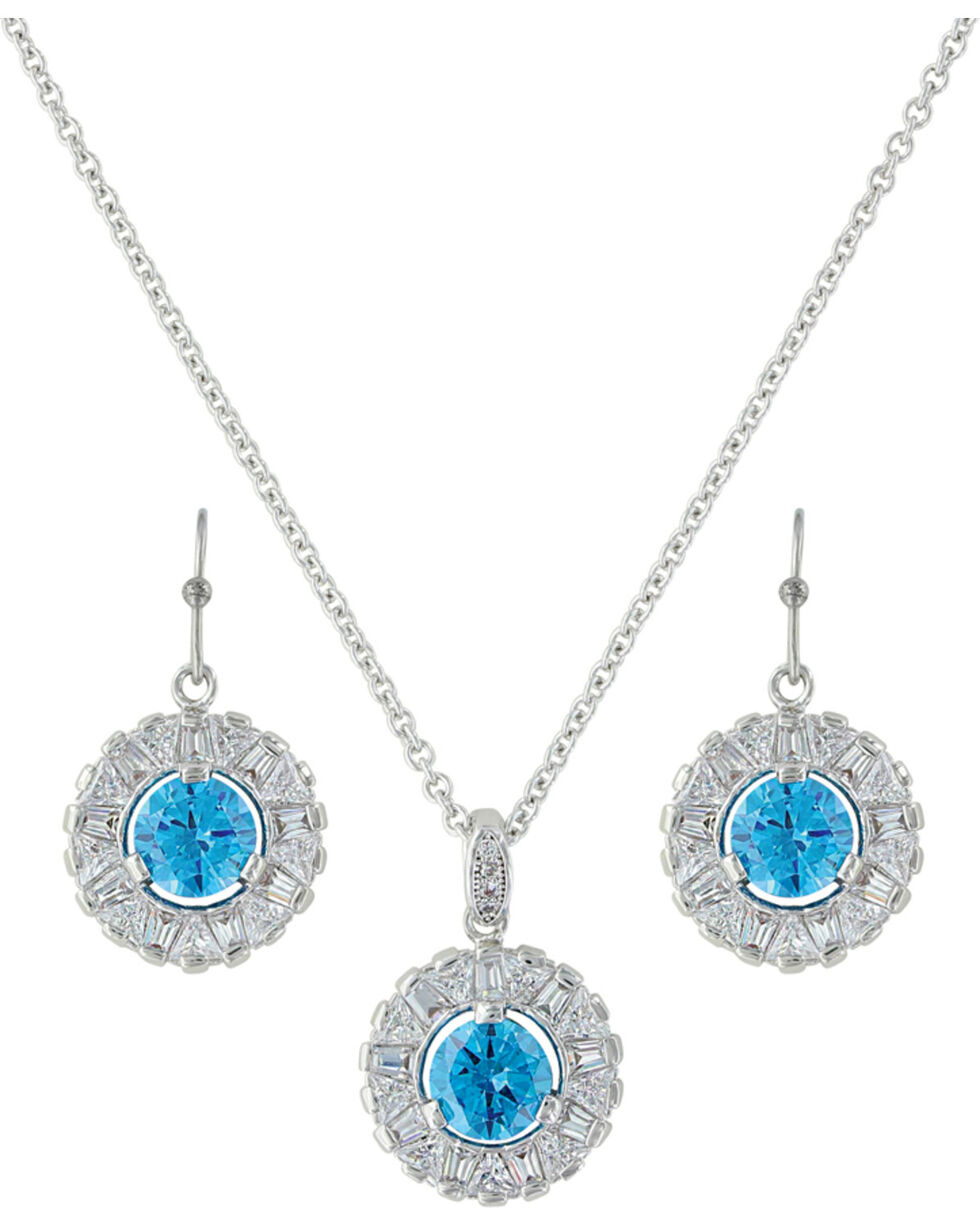 Montana Silversmiths Women's Hot Summer Days Halo Jewelry Set , Silver, hi-res