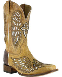 Corral Men's Square Toe Wing and Cross Inlay Western Boots, , hi-res