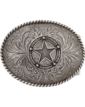 Montana Silversmiths Men's Star Concho Attitude Belt Buckle, Silver, hi-res