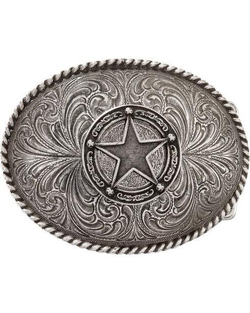 Montana Silversmiths Men's Star Concho Attitude Belt Buckle, Silver, hi-res
